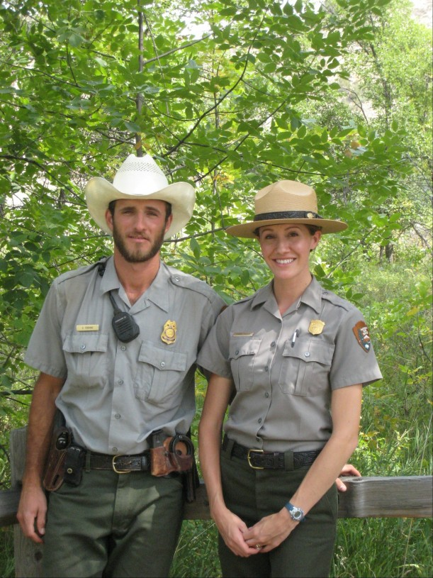 Laura Holley Thomas is shown here with her husband, Shawn, who is no longer a ranger, but is now ...