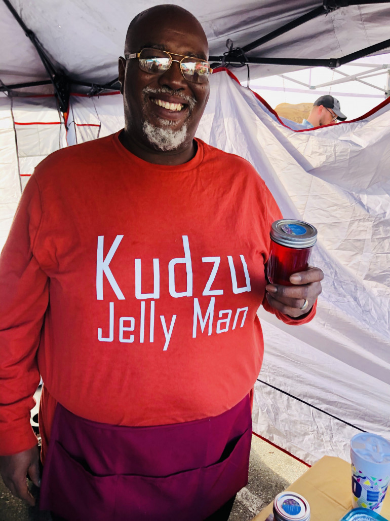 The Carolina Kudzu Jelly Man with a jar of his famous jelly. Darryl Wilson did a Facebook Live ev...