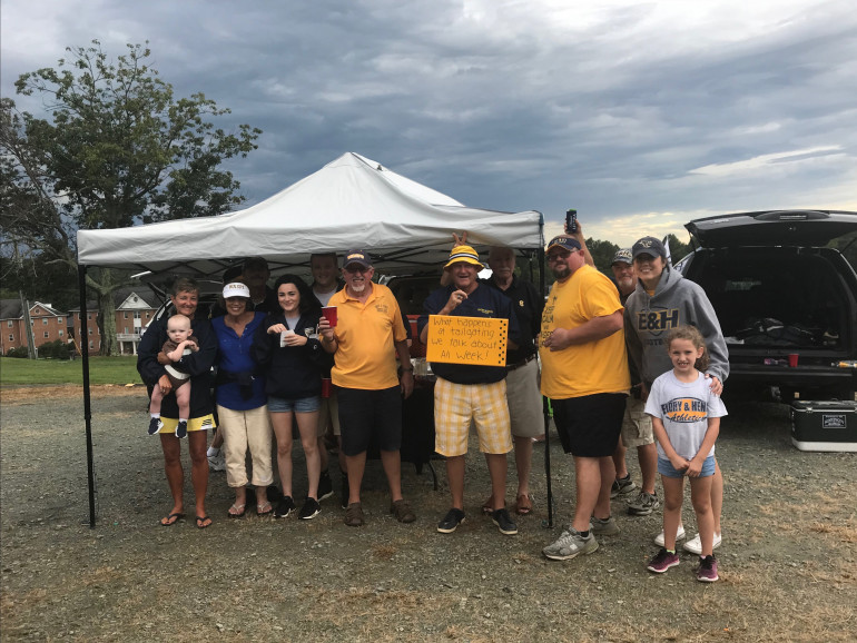 Friends gathered on a stormy day for E&H vs Ferrum football in 2018.