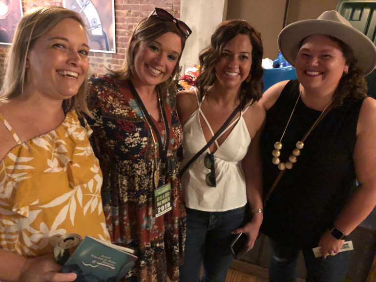 Old friends gathered at the E&H party at Rhythm & Roots, Sept. 18, 2019.