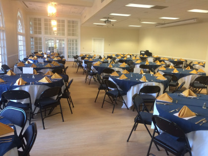 The Board of Visitors Lounge set up for a banquet style setting, available for up to 130 people.