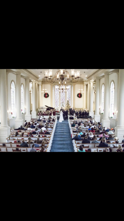 A full view of the Memorial Chapel Christmas time wedding.