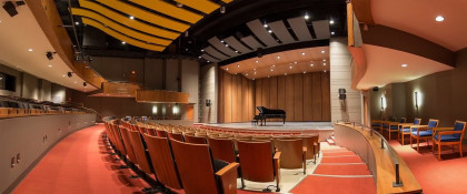 The McGlothlin Center for the Arts main stage theatre with seating up to 461 people.