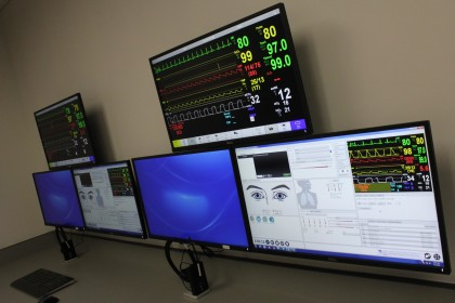 Our Interprofessional Clinical Simulation Lab Control Room.  From the control room, faculty monit...