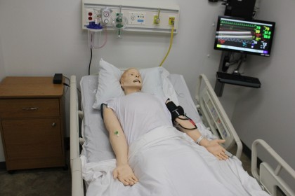 Here you see one of our High-Fidelity Patient Manikins (Sim Man 3G).  Each room is equipped with ...