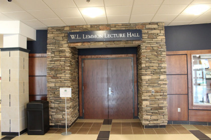 Entrance to the Lemmon Lecture Hall in the Health Sciences Building
