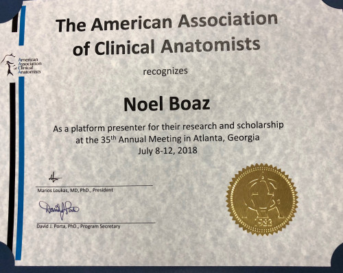 Anatomical Services Award Certificate