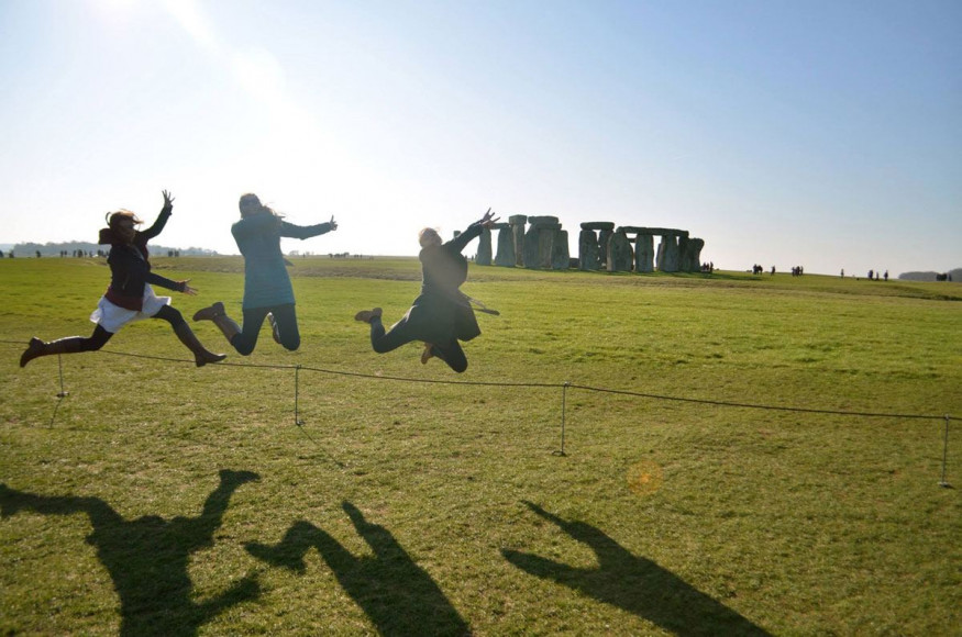 E&H Abroad - Jumping for joy at Stonehenge