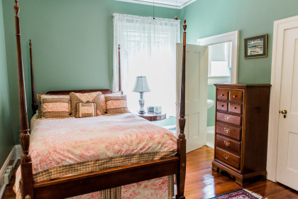 Room 101 features a queen size bed and private bath.