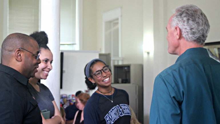 Honors families talk to Dr. Boltwood on Honors move-in day