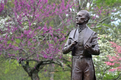 John Emory statue during the spring.