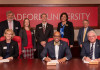 Front row from left: Radford University Interim Provost Kenna Colley, Radford University Presiden...