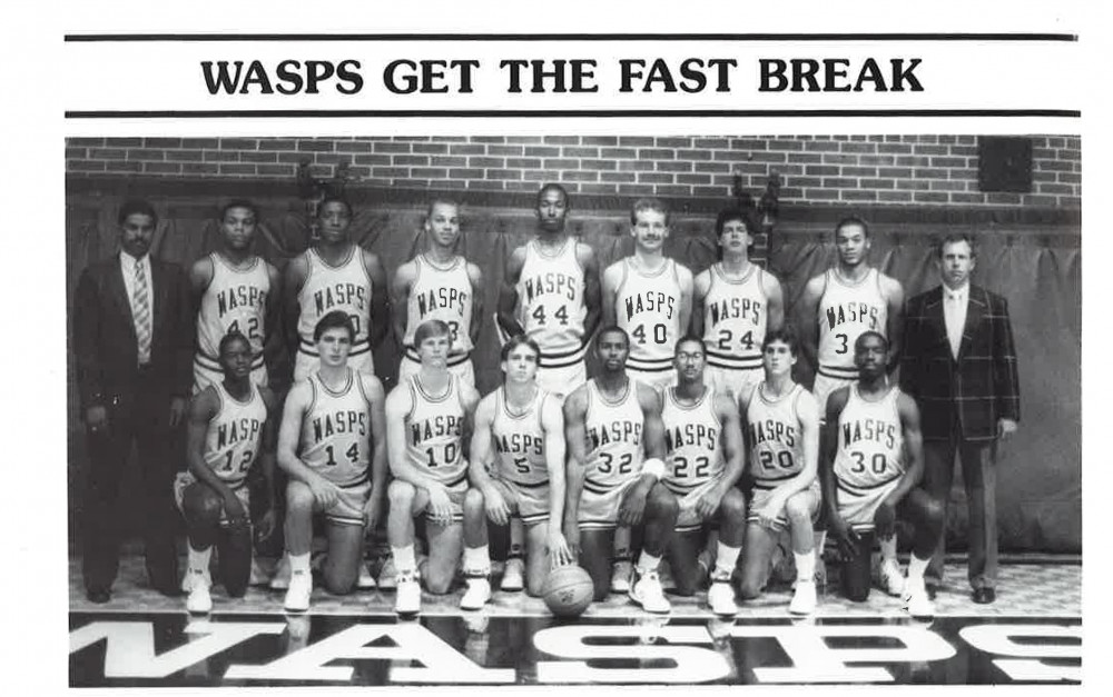 E&H 1986 Men's Basketball Team: Mike Young featured, center (#5)