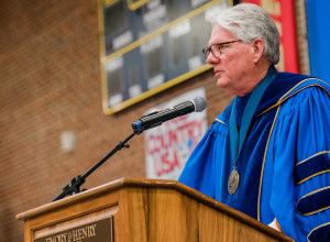 President Jake Schrum speaks during commencement.