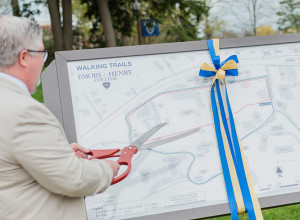 President Wells cuts ribbon on new exercise trails