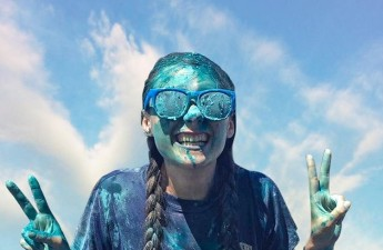 Kara Stewart after a color war at Amplify, one of the camps she served at.