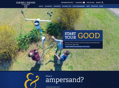 Image of the front page of the new Emory & Henry College website.