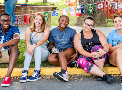 Classes representing all the different countries come together to celebrate.