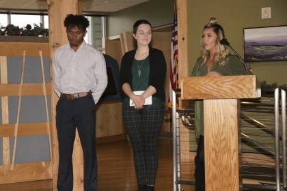 Students (L to R) Desmond Perry, Allison Hamilton and Madisson Gillespie present their video proj...