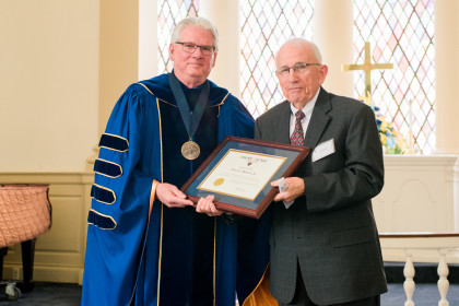 Citation Recipient Award Henry C. Dawson, Jr. '62 with President Jake Schrum.