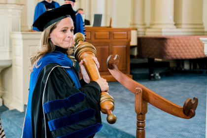 Dr. Rebecca Buchanan served as faculty marshall for Founders Day.