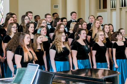 The concert choir performs at Founders Day.