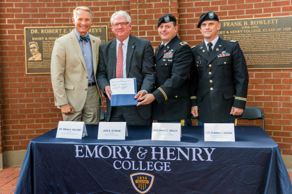 President of ETSU Dr. Brian E. Noland, President Jake B. Schrum, Col. David C. Welch, and LTC. Sh...
