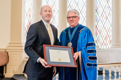 Fred Selfe Distinctive Service To Emory & Henry Award winner Jay Rosser and President Schrum.