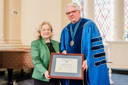 Citation Recipient Award winner Charlotte Lewis Parsons and President Schrum.