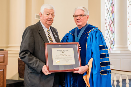 Citation Recipient Award winner David P. Helms '63 and President Schrum