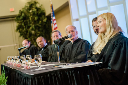Justice Teresa Chafin speaks in during her investiture ceremony.