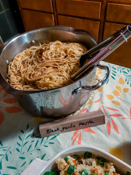 A sampling of foods from the dinner, including black garlic pasta.
