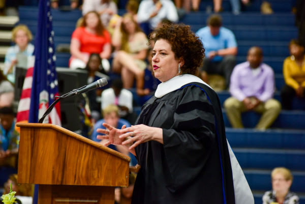 Adriana Trigiani speaks at Emory & Henry's Commencement ceremony.