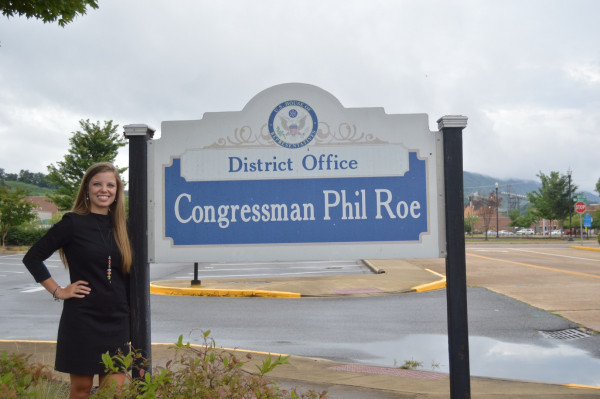 Alexis Staubus outside Congressman Phil Roe's District Office in Kingsport, TN.