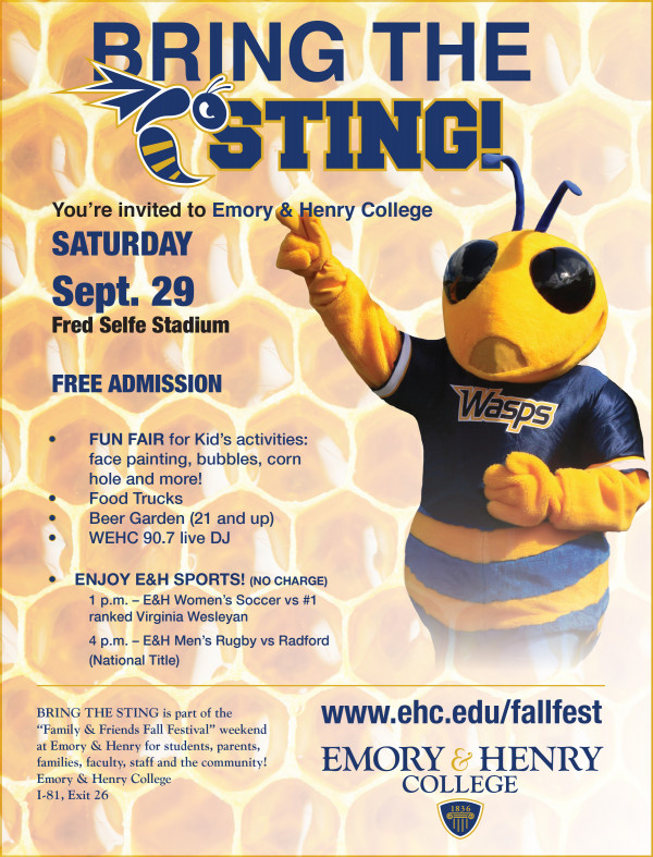 Bring the Sting is in part with Family & Friends Fall Festival weekend for students, parents,...