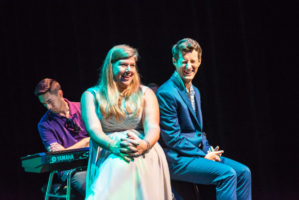 Broadway actor Matt Dengler and Assistant Professor Rachel Black on stage during their recent per...