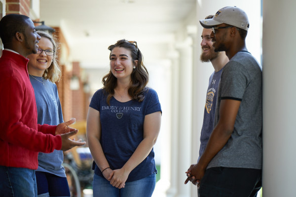 Students engage on campus together.