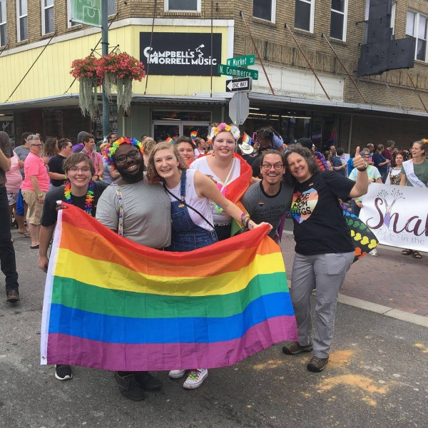 Students, faculty and staff at the TriPride Parade in Johnson City, Tenn.