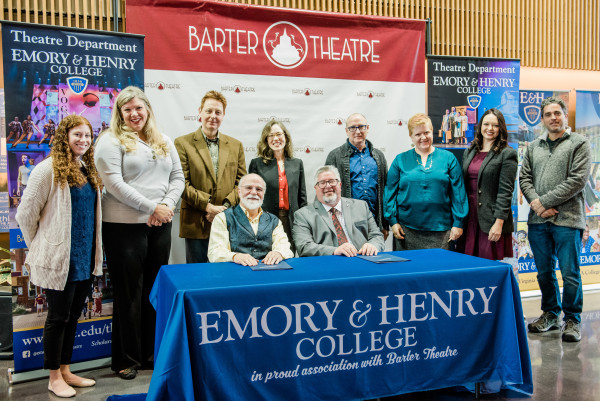 E&H Theatre Faculty and Barter Staff signing the partnership contract.