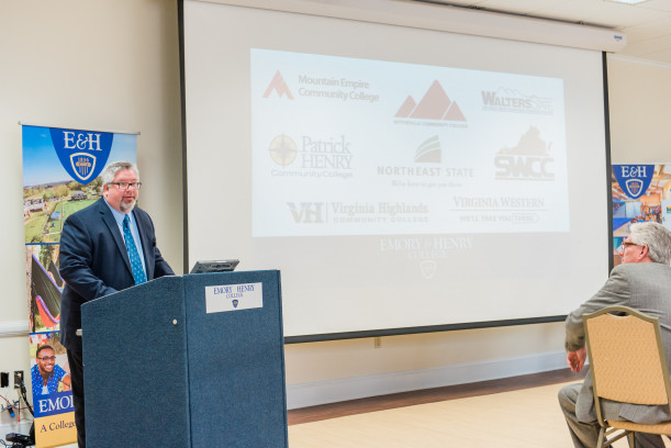 Provost John Wells addresses local community colleges from the region at the Mid-Appalachian High...
