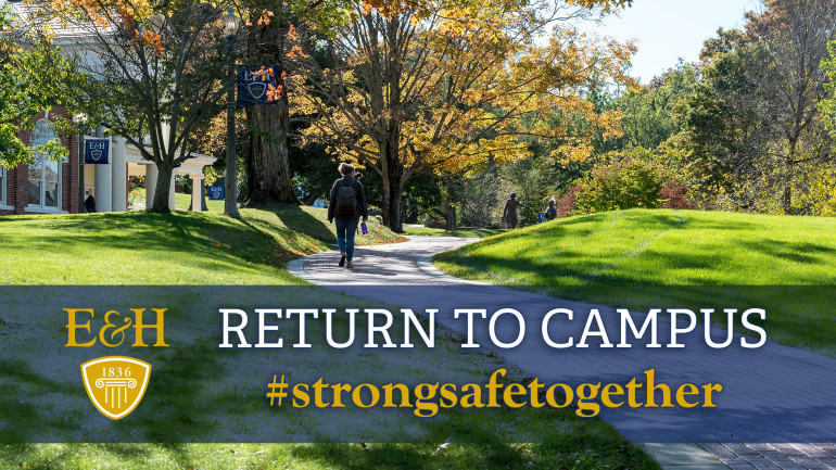 Student walking on campus. Return to Campus #strongsafetogether
