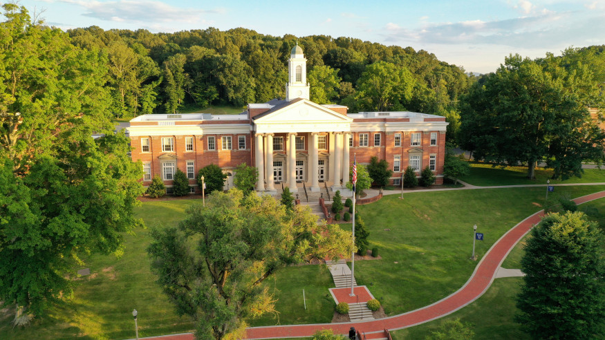 Drone image of Wiley Hall.