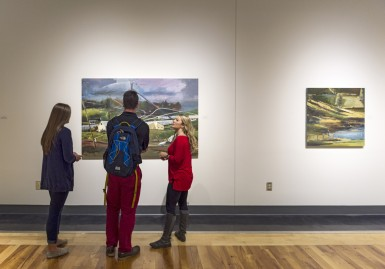 Students in The MCA Art gallery during a recent exhibition