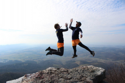 Jess Myer and Jake Caudill, trip leaders for the Outdoor Program, having fun on top of Raven's Rock.