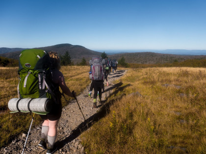 Outdoor Program members hiking in the Grayson Highlands.