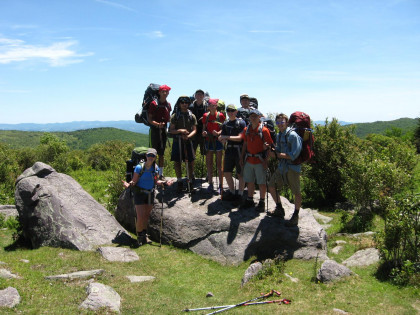 Members of the Outdoor Program on a hike in Grayson Highlands.