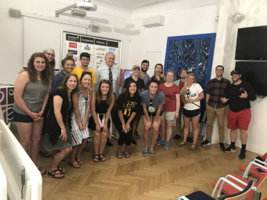 Students meet with Weston Stacey, Executive Director of the American Chamber of Commerce in Pragu...