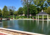 View of the newly renovated duck pond on campus.