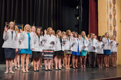E&H MPAS Class of 2020 Students taking the PA Student Oath at the 2018 White Coat Ceremony