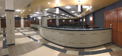 The SHS Lobby, with a large student community room - the room even has a fireplace!